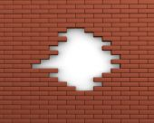 Hole in wall of bricks — Foto de Stock