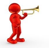 People icon playing trumpet — Stock Photo