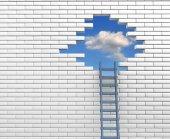 Leiter zum Loch in der Wand — Stockfoto