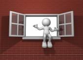 Human character and window open — Stock Photo