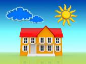 House with sun and clouds — Stock Photo
