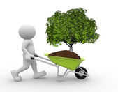 Human character with green tree in wheelbarrow — Stock Photo