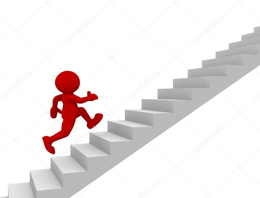 Man Character Running Up On Stairs Stock Photo