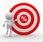 Person with target and percent sign — Stock Photo
