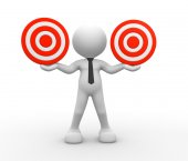 Person with two target in balance — Stock Photo