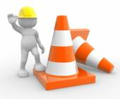 Person and traffic cones — Stock Photo