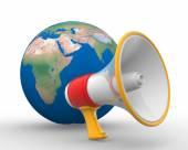 Megaphone and Earth globe — Stock Photo