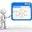 3d man pointing a browser window — Stock Photo #62059769