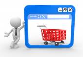 Man with a browser window and a shopping cart — Stock Photo