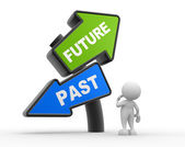 Man with signs with PAST and FUTURE pointing in opposite directions — Stock Photo