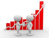 Men shake hands with growing graph — Stock Photo