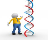 3d man person with DNA structure — Stock Photo