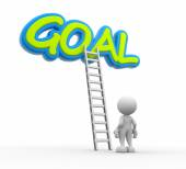 Man with a ladder and word GOAL — Stock Photo