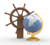 Ship steering wheel and earth globe — Stock Photo
