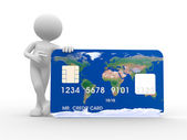 3d man with a credit card — Stock Photo