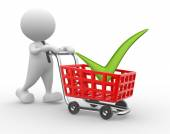 Man with shopping cart — Stock Photo
