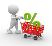 Man with shopping cart and percent sign — Foto de Stock