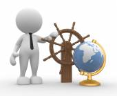 Man with a ship steering wheel and earth globe — Stock Photo