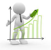 Person doing presentation graph chart — Stock Photo
