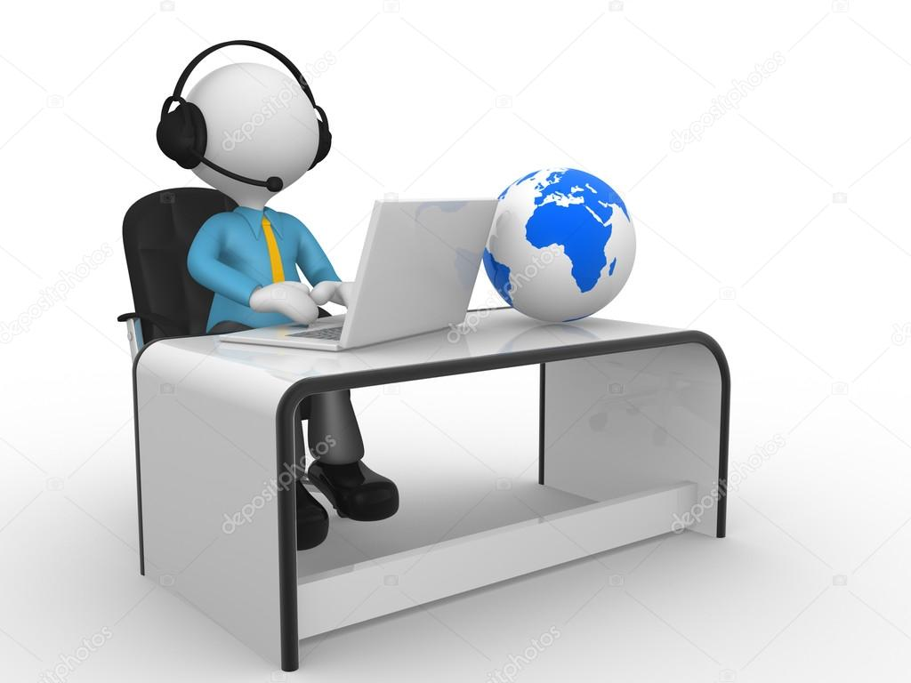 3d man with headphones and laptop at a office — Stock ...