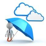 Man with a blue umbrella. — Stock Photo #62067417