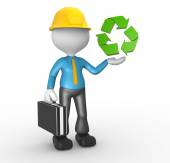 Person pointing on recycling symbol — Stock Photo