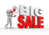 Man with a megaphone and text Big Sale — Stock Photo
