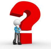 Person and question mark — Stock Photo