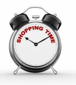 Alarm clock and text Shopping time — Foto de Stock