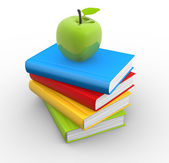 Pile of books with an apple on top. — Stock Photo