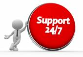 Man with a button and text  support 24 7 — Stock Photo