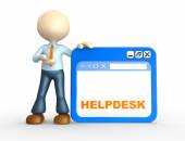 Person and browser with word Helpdesk — Stock Photo
