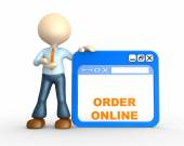 Person and browser with text Order online — Stock Photo