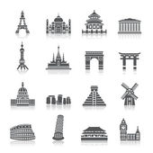 Famous Scenic Spots Icons — Stock Vector