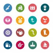 Agriculture and Fisheries Color Icons — 图库矢量图片