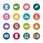 Kitchen Utensils and Appliances Color Icons — Stock Vector