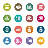 Logistics and Transport Color Icons — Stock Vector