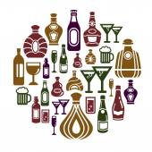 Alcohol Icons in Circle Shape — Stock Vector