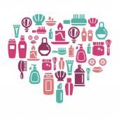 ícones de beleza e cosméticos em forma de coração — Vetor de Stock