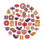 Chinese New Year Icons in Circle Shape — Stock Vector