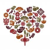 Chinese New Year Icons in Heart Shape — Stock Vector