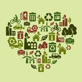 Environmental Protection Icons in Heart Shape — Cтоковый вектор
