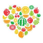 Kalp şeklinde meyve simgeler — Stok Vektör