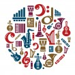 Music Icons in Circle Shape — Stock Vector