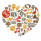 Music Icons in Heart Shape — Vecteur