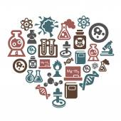 Science and Chemistry Icons in Heart Shape — Stock Vector