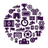 Sport compétition icônes en forme de cercle — Vecteur