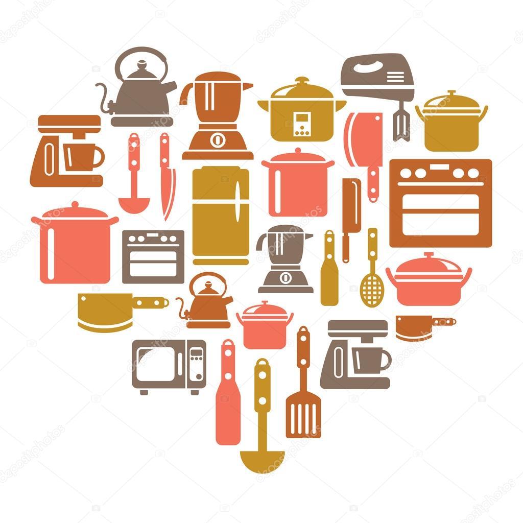 Iconos de utensilios y electrodom sticos de cocina en for Utensilios de cocina casa joven