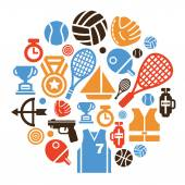 Sport Icons in Circle Shape — Stock Vector