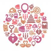 Valentines and Love Icons in Circle Shape — Stock Vector